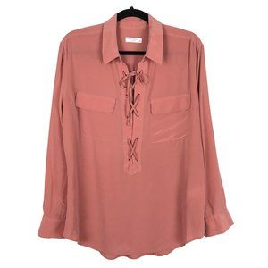 Equipment Pink Lace Up Silk Blouse Large